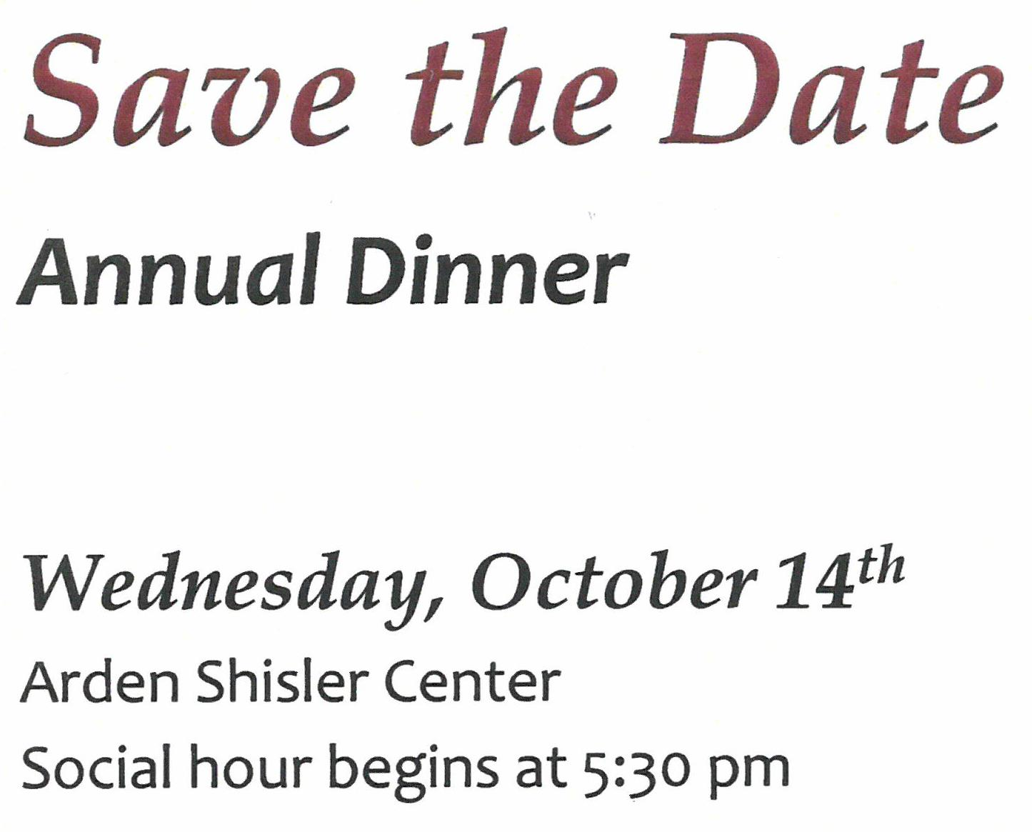 Save the Date WCCF Annual Dinner